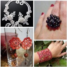 Waaaayyyy down the link are free crochet jewelry patterns. Follow up to see crocheted rings.