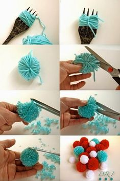 DIY Pompom Rug - iCreatived Cut mat into different shapes DIY Pompom Rug Love this DIY home decor project using pom poms! DIY Pompom Rug - omg I want to make one for C I have a pom-pom maker. Kids Crafts, Crafts For Teens, Diy And Crafts, Craft Projects, Arts And Crafts, Summer Crafts, Handmade Crafts, Stick Crafts, Recycled Crafts