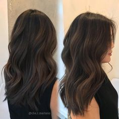 60 Chocolate Brown Hair Color Ideas for Brunettes Sleek Chocolate Hair with Ash Brown Babylights - Station Of Colored Hairs Brown Hair Shades, Light Brown Hair, Brown Hair Colors, Dark Brown Hair With Low Lights, Deep Brown Hair, Brown Straight Hair, Light Blonde, Thin Hair, Dark Red