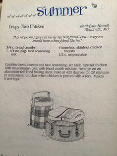 Crockpot Recipes, Chicken Recipes, Cooking Recipes, Chicken Tacos, Taco Seasoning, Vintage Recipes, Bread Crumbs, Food Items, Mayonnaise