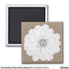 Faux Burlap White Zinnia Magnet