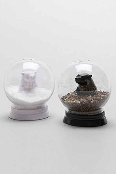 Snow Globe Bears Salt + Pepper Shaker Set - Urban Outfitters