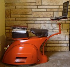 Upcycled vespa as work station
