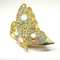 Butterfly Brooch  Vintage Mandle Signed Gold Tone by MyDellaWear