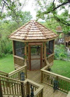 Enclosed Gazebo, Gazebo On Deck, Screened In Deck, Gazebo Plans, Backyard Gazebo, Diy Pergola, Backyard Landscaping, Gazebo Ideas, Porch Ideas