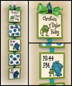 Disney Monsters Inc  Style Birth Announcement for baby's nursery or child's bedroom  - personalized wall art by SimplySignsByJess on Etsy https://www.etsy.com/listing/220467011/disney-monsters-inc-style-birth