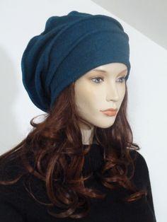 Effortlessly chic lagenlook petrol green boiled wool slouchy chic ladies hat   NEW