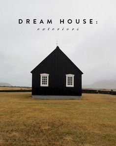 black house exterior with white framed windows. Black Exterior, Interior And Exterior, Black Barn, Jolie Photo, Little Houses, Black House, Tiny House, Architecture Design, Building Architecture