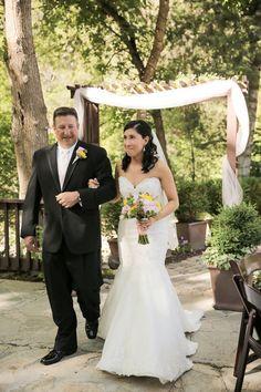 Bride and Her Father walk down the aisle Intimate Utah Mountain Wedding Venue: Millcreek Inn / Photographer: Logan Walker Photography / Cake: Bayshore Cake / Florist: Dahlia Event Planning