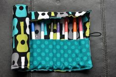 Groovy Guitars Felt Cozy/Roll Including by SpoonerSistersDesign, $20.00 Guitars, Diaper Bag, Rolls, Felt, Cozy, Gift Ideas, Trending Outfits, Unique Jewelry, Handmade Gifts