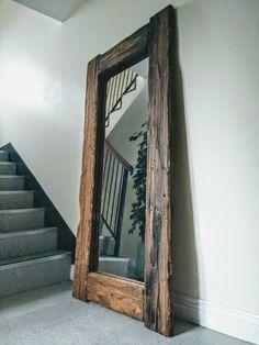 Rustic Floor Mirrors, Rustic Bathroom Mirrors, Wood Framed Mirror, Full Length Mirror Wood Frame, Full Length Mirror Living Room, Mirror Bedroom, Master Bedroom, Reclaimed Wood Floors, Reclaimed Wood Bedroom