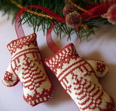 Pair of Redwork Nordic Embroidered Mittens Christmas Ornament, Cherie Wheeler, Etsy