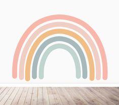 Rainbow Wallpaper Feature Mural for Kids Big Girl Bedrooms, Girls Bedroom, Bedroom Sets, Girl Room, Baby Room, Rainbow Bedroom, Rainbow Room Kids, Rainbow Painting, Rainbow Art