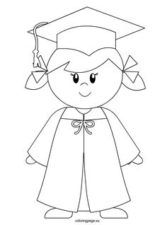 Kindergarten Graduate Girl | Coloring Page