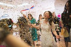 Such a joyous image from Kristian Leven Photography #confetti #wedding #bride #littlebookforbrides