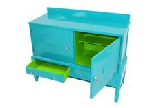 give your room a wow factor with this turquoise and lime cupboard
