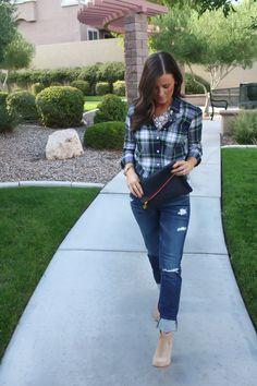 plaid + jcrew necklace + boyfriend jeans + booties