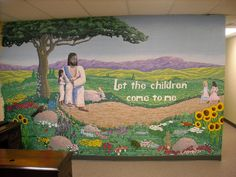 Artist Adron: Painting a Mural In Columbia Md. Jesus with the message of Let the Children Come to Me