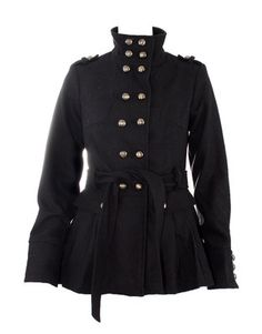 Ladies Black Military Style Wool Coats Jackets