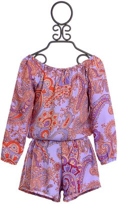 f92a5eb6f0a0 Flowers By Zoe Tween Romper in Purple Paisley Photo Quality