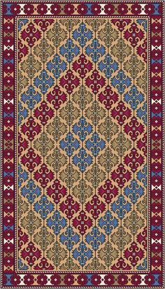 Dollhouse Miniature Needlepoint PATTERN Area Rug by ScarletSails