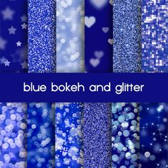 blue bokeh and glitter digital paper, web background
