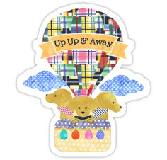 Preppy Retriever Dog Family taking a Hot Air Balloon Ride. Preppy dogs wearing striped bandanas, preppie puppy wearing classic yellow striped popped up shirt, navy blue collar with The Preppy Dog™ text. Madras hot air balloon, navy and yellow washed watercolor polka dot basket with colorful watercolor weights. Up Up & Away Banner. Makes cute kid's room decor! / - The Preppy Dog designs © 2016 The Preppy Dog™ by EMR Designs. • Also buy this artwork on stickers, phone cas...