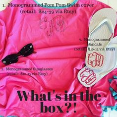 Libby & Dot Collections: Boutique Clothing and Monograms - Sneak Peek into May's Monthly Monogram Box!  Swimsuit cover, flip flops, and sunglasses!