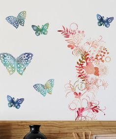 Butterflies & Floral Spray Peel & Stick Wall Decal Set from DCWV