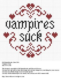 Here's a cross stitch pattern True Blood fans will appreciate.