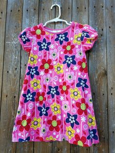 Hanna Andersson Girls Size 110 (US 4-5) Pink Floral Cotton Dress #HannaAndersson
