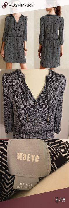 ANTHROPOLOGIE Maeve gray galan dress EUC. No flaws. Cute tassel detail. Button front. Size small. Anthropologie Dresses