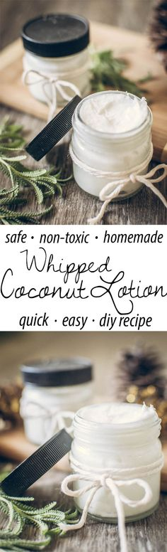 Quick and easy whipped coconut oil lotion! Most lotions you can buy in the store are full of toxins and chemicals that clog up skin and cells. Homemade lotion is safe for both children and adults and is absolutely non-toxic.