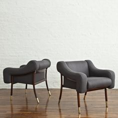Pair of Upholstered Armchairs by Gianfranco Frattini | From a unique collection of antique and modern lounge chairs at http://www.1stdibs.com/furniture/seating/lounge-chairs/