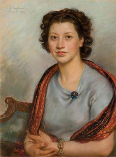 Zinaida Serebriakova (1884 - 1967) | Portrait of Bertha Popoff in a red shawl, 1940