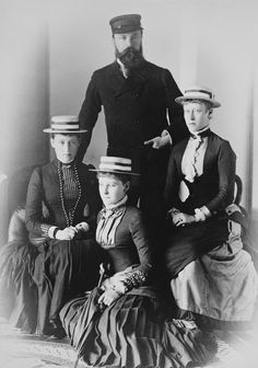"""Grand Duke Louis IV of Hesse (Darmstadt) and By Rhine with three of his daughters Princesses Irene Elisabeth and Victoria in August 1883. """"AL"""""""