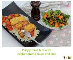 Crispy fried feta with herby tomato sauce and rice Tomato Sauce, Tandoori Chicken, Feta, Vegetarian Recipes, Rice, Meals, Dishes, Ethnic Recipes, Meal