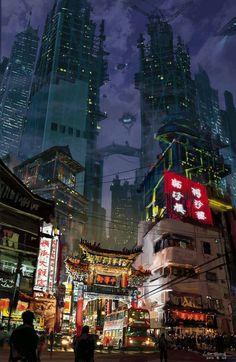 cyber Tokyo / sci fi / city lights / digital art