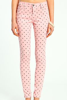 Ice Cream Parlor Polka Dot Skinny Jeans in Strawberry Pink