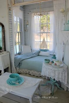 Shabby Chic Decor post id 4672468249 - A wonderful read on room decor images. Coastal Bedrooms, Shabby Chic Bedrooms, Shabby Chic Homes, Shabby Chic Decor, Shabby Chic Beach, Shabby Chic Cottage, Bedroom Wall, Bedroom Decor, Blue Bedroom