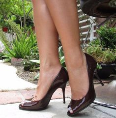 6ceca3584eb Cathy Jean Brown Patent Leather Peep Toe Stiletto Heels Classic Pumps Shoes  8  CathyJean