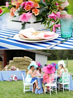 A Vibrant & Colorful Kentucky Derby Garden Party // Hostess with the Mostess® Race Party, Derby Party, Birthday Brunch, Birthday Dinners, Kentucky Derby, Garden Party Decorations, Bridal Shower, Baby Shower, Brunch Wedding