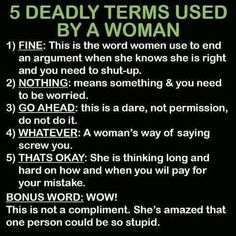 5 deadly terms used by a woman -