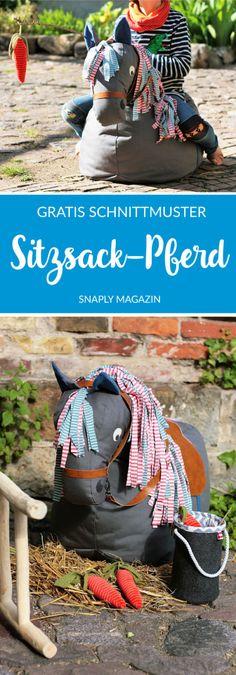 Kostenloses Schnittmuster für einen Pferde Sitzsack | SItzsack nähen #snaply #snaplymagazin #nähen #schnittmuster