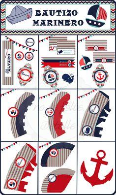Kit Imprimible Bautizo Marinero Nautical Baby, Nautical Theme, Sailor Birthday, Daughter Of God, Party Themes, Party Ideas, Christening, Mickey Mouse, Birthdays