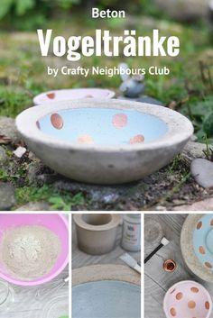 free tutorial for a Concrete Bird feeding bowl, lerne, wie du einfach eine Vogeltränke aus Beton fertigst unser kostenloses DIY im Blog
