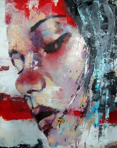 red - woman - face - Thomas Donaldson - painting