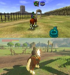 Zelda has come a long way Epona ocarina of time breath of the wild link