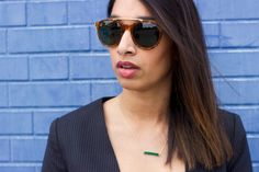 brow bar sunglasses | emerald pendant necklace #ootd