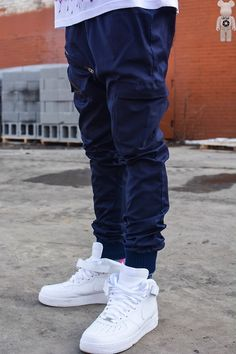 2a50ff254b2 E qouta clothing handcrafted navy dual zip joggers by